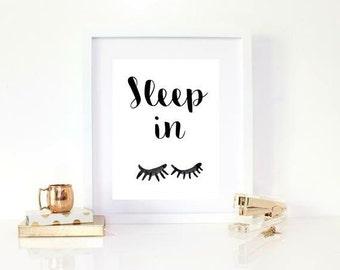 Sleep in black and white sleeping eyes print