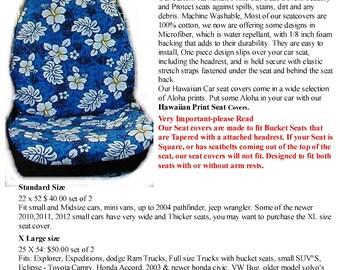 Hawaiian Car Seat Cover Set Blue Volcano