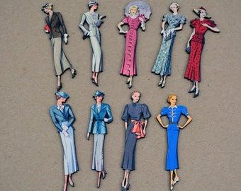 1930's  Fashion Models Set - 9 Wood Laser Cut - Altered Art Embellishments