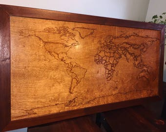 Handmade Pyrography (woodburning) Word Map with solid Brazilian Walnut frame