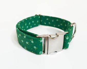 Buckle/Snap Dog Collar Green with Tiny Flowers // Dog Lover Gift // Dog Accessories