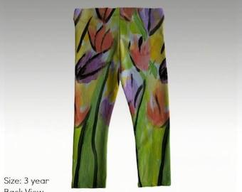 """Baby/Toddler Leggings by JRG Original Design - """"Spring Tulips"""" in sizes: 6mo, 1yo, 2yo, 3yo (quick dry & antibacterial)"""