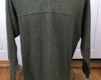 Patagonia Long Sleeve Olive Green Crewneck Sweater Mens Large - Made in USA