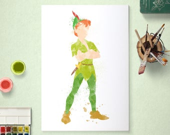 Peter Pan, Neverland, Watercolour Art, Printable Instant Download