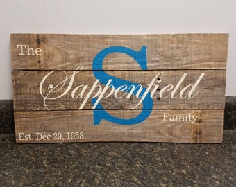 Custom Name Wood Sign,  Wedding Gift Sign, Pallet Last Name Sign, Rustic Sign, Established Date Family Sign