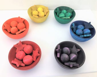Rainbow Color Sorting Bowls / Waldorf Inspired / Reggio / Montessori / Wooden Toy / Open-Ended Toy / Preschool / Loose Parts / Balls / Stars