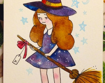 Little Witch - Cute Witch Original A6 Watercolour Painting - One of a kind