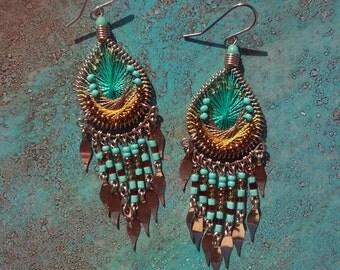 Peruvian Silk  Earrings, Teardrop earrings, Turquoise earrings, Small Turquoise Earrings, Turquoise Chandelier Earrings, Blue Bead Earrigngs