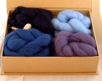 DROP SPINDLE KIT beginners' yarn spinning kit with Shetland wool crafty gift