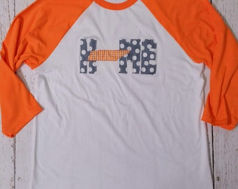 Tennessee HOME Raglan style t shirt with applique HOME and TN state design