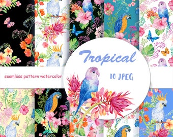 flower pattern,digital paper, tropical patterns,parrots,Decorative Paper, seamless pattern,Scrapbooking ,watercolor pattern,watercolor