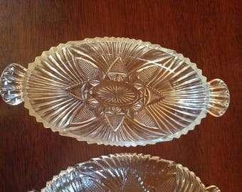 Vintage Pressed Glass Relish Trays or Dishes with Handles Set of 2