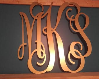 Monogram Door Hanger, Three Letter Monogram, Wedding Gift, Metal Letters, Wedding Guest Book, Three Initial Monogram, Metal Wedding Sign