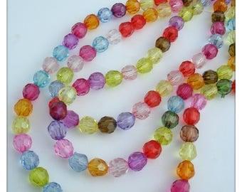 Faceted acrylic beads, Acrylic beads, Faceted beads, Jewellery making, Beads, Craft beads, Faceted rounds, Round, 8mm, Multicolour