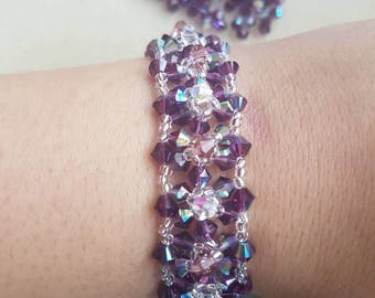 Handmade bracelet made with Swarovski bicones and silver plated finding.