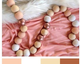 Wooden garland • Decorative garland  •  Wooden beads garland • Wood beads • Nursery decor • Garland • Hand painted • Photo holder