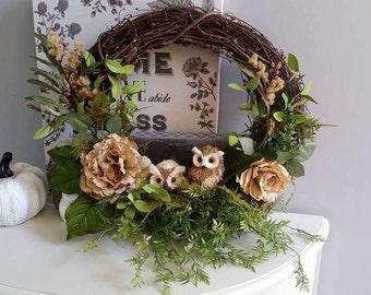 Owl Wreath, Indoor Wreath, Front Door Decor ForHolidays Porch Decor, Holiday Burlap Wreath