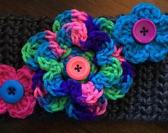 Crochet Earwarmer with Flower(s) applique