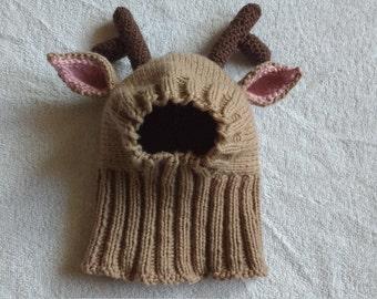 Knit Reindeer Dog Hat, Snood