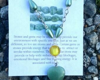 New Jade (Serpentine) Heart Necklace