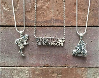 Set of 3 Girls Wrestling Sterling Silver Necklaces