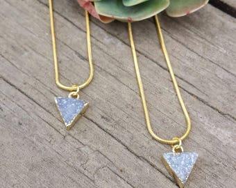 22K Electroplated Geometric Mini Druzy Necklace