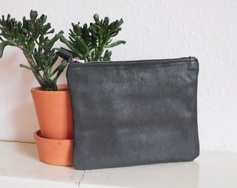 Leather Clutch | Leather Zip Pouch | Cosmetic Bag | Leather Bag | Leather Purse | Hand Printed Lining | Botanical Inside |