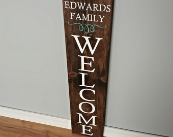 Welcome Sign - Front Porch Welcome Sign - Reversible Sign - Porch Sign - Last Name Sign - Family Name Sign - Outdoor Welcome Sign -