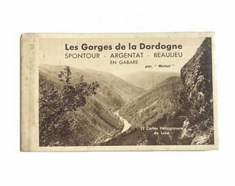 12 Antique French Souvenir Postcards Booklet. Antique Heliogravure Luxury Postcards of Dordogne, France. Travel Memorabilia, Collectibles