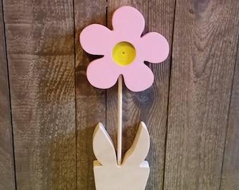 Pink wooden flower
