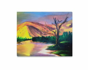 "Canvas Art Print 20""x16"" +3 other sizes -Sun Rock Lake- FREE Shipping"