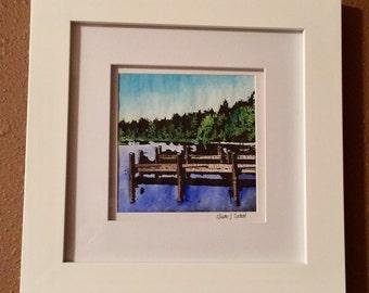 Lakeside Pier Watercolor & Ink Painting