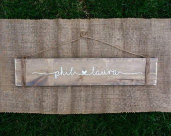 Connected hearts personalized sign - reclaimed wood sign - Engagement gift - Wedding gift - personalized wedding sign - Bridal shower gift