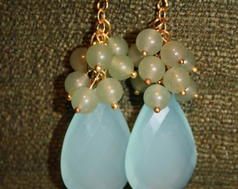 Large Blue Chalcedony and Green Aventurine Dangle Earrings
