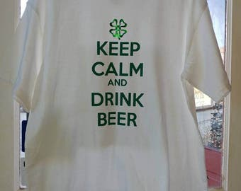 Keep Calm and Drink Beer Adult St Patrick's Day T-Shirt