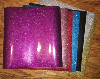 black, gold, silver, red, blue, pink, and purple glitter heat transfer vinyl 12 x 12 sheets