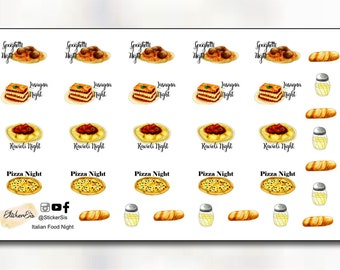 Italian Food Night Icon Planner Stickers