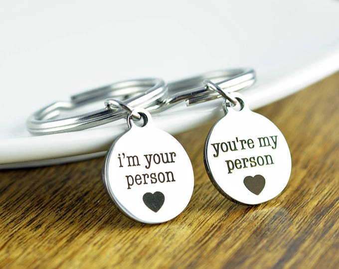 You're My Person Keychain - Grey's Anatomy Inspired - You Are My Person Keychain, I'm Your Person Keychain Set, Best Friends Forever