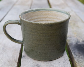 Handmade ceramic mug *Made to order* Dark green stoneware glaze on the outside, white on the inside. hand crafted on a potter's wheel