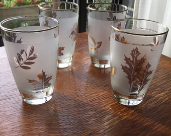 Frosted Gold Leaf Highball Glasses. Mid Century Modern Barware. Set of 4