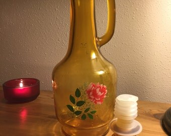 Vintage 1970's Amber Glass Decanter Painted Rose