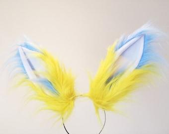 Blue Yellow Fox Ears long fur  Cosplay Animal Furry Bunny ears Rabbit Judy Realistic