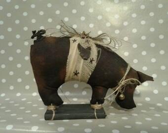 Black Primitive Pig - Primitive Decor- Primitive Self Sitter -Farm Decor - Potbelly Pig - Primitive Art - Rustic Decor - Primitive Hog -