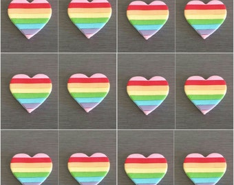 12 x Rainbow Heart Cupcake Decorations, Rainbow Party Cake toppers, edible cupcake toppers