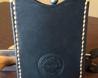 Black Leather Card Wallet w/ Orange Stitching