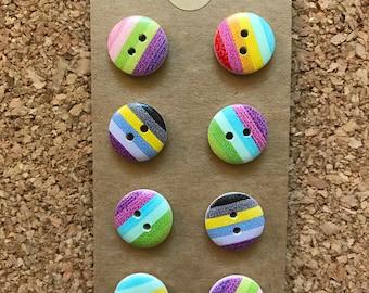 Vintage Colorful Striped Thumb Tacks/Push Pins / Magnets - FREE SHIPPING!