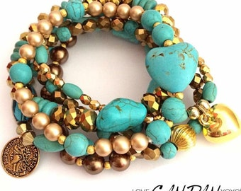 Classy Turquoise Set Bracelet with Swarovski Pearls, crystals and gemstones