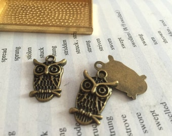 100 Pieces /Lot Antique Bronze Plated 15mmx19mm owl Charms