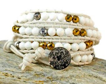 Boho White Rosalba 4 strand Nugget Bracelet. Boho Style. Bohemian Jewelry. Semiprecious stones. Gift for her. Cuff Bracelet. Onyx & Hematite