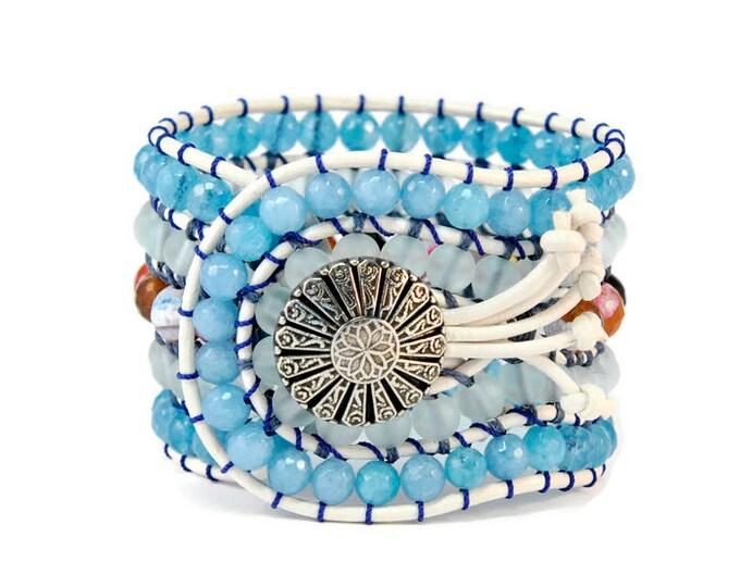 Boho Antarctika * 5 strand Statement Wrap Bracelet. Boho Style. Bohemian Jewelry. Semiprecious stones. Gift for her. Unique Design.